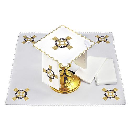 Set linge autel coton croix dorée couronne d'épines 2