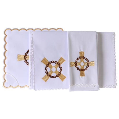 Set linge autel coton croix dorée couronne d'épines 3