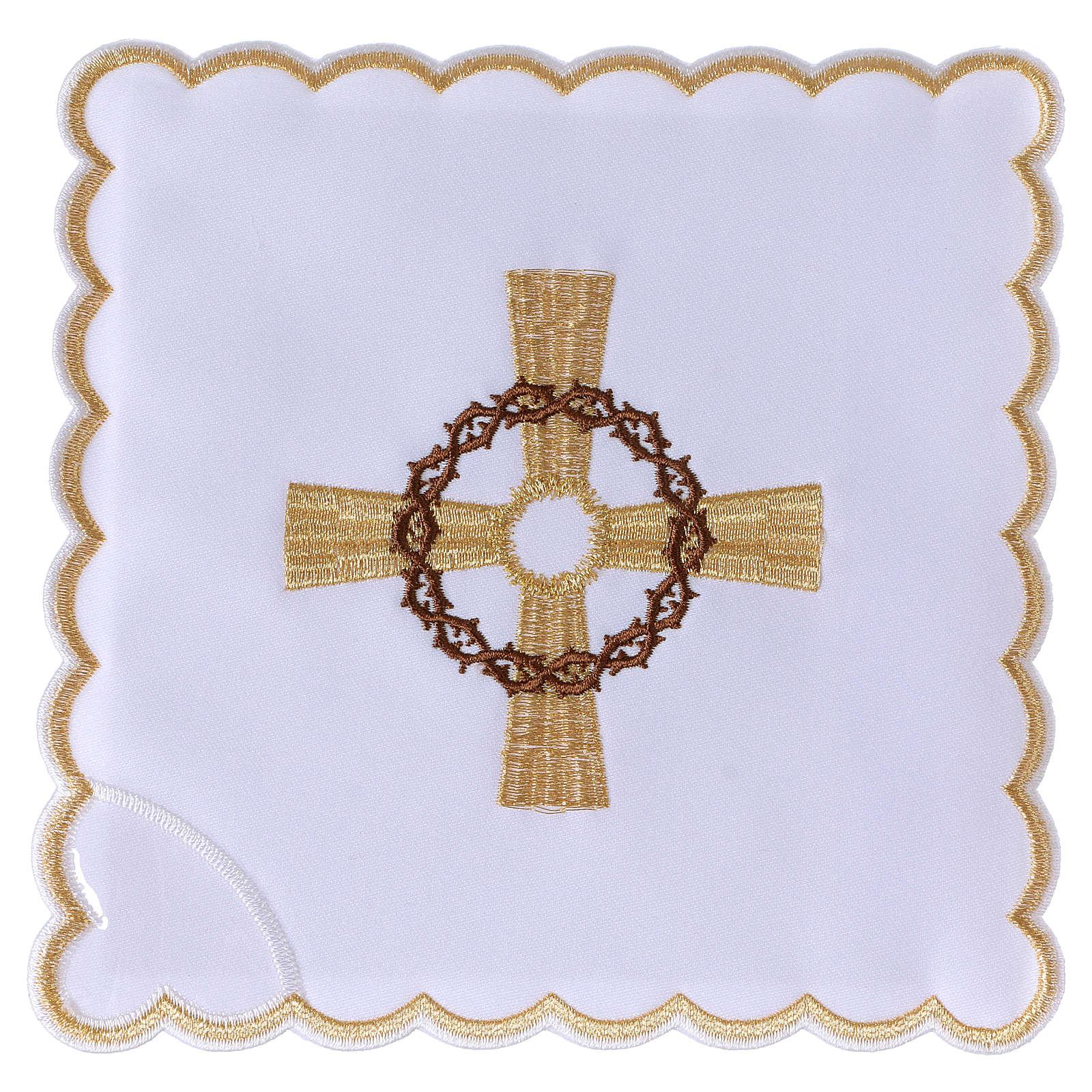 Servizio da altare cotone croce dorata corona di spine 4