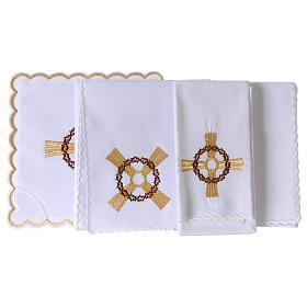 Servizio da altare cotone croce dorata corona di spine s3