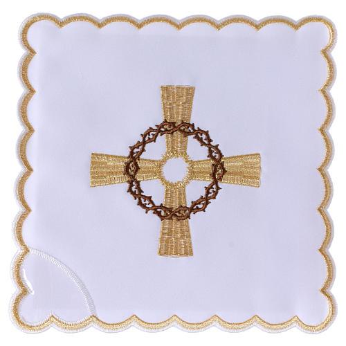 Servizio da altare cotone croce dorata corona di spine 1