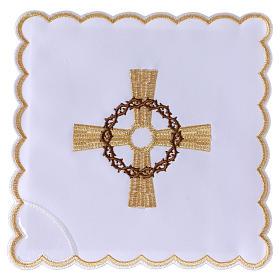 Conjunto alfaia altar algodão cruz dourada coroa espinhas s1