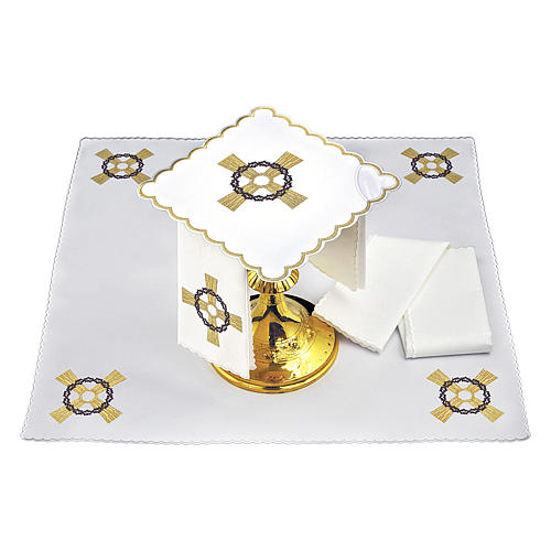 Conjunto alfaia altar algodão cruz dourada coroa espinhas 2