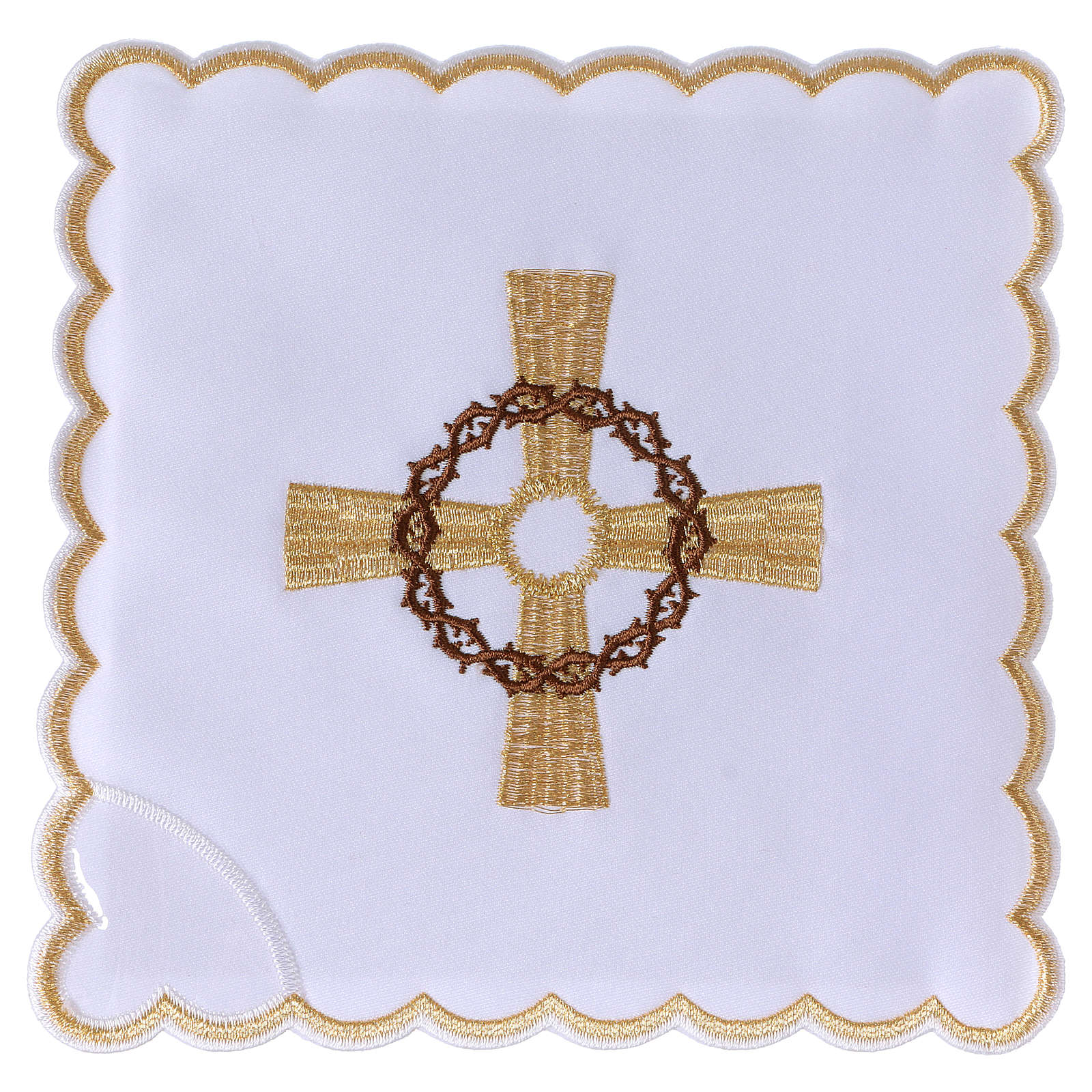 Altar linen golden cross & crown of thorns, cotton 4