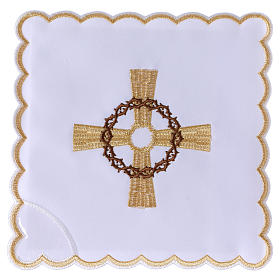 Altar linen golden cross & crown of thorns, cotton s1