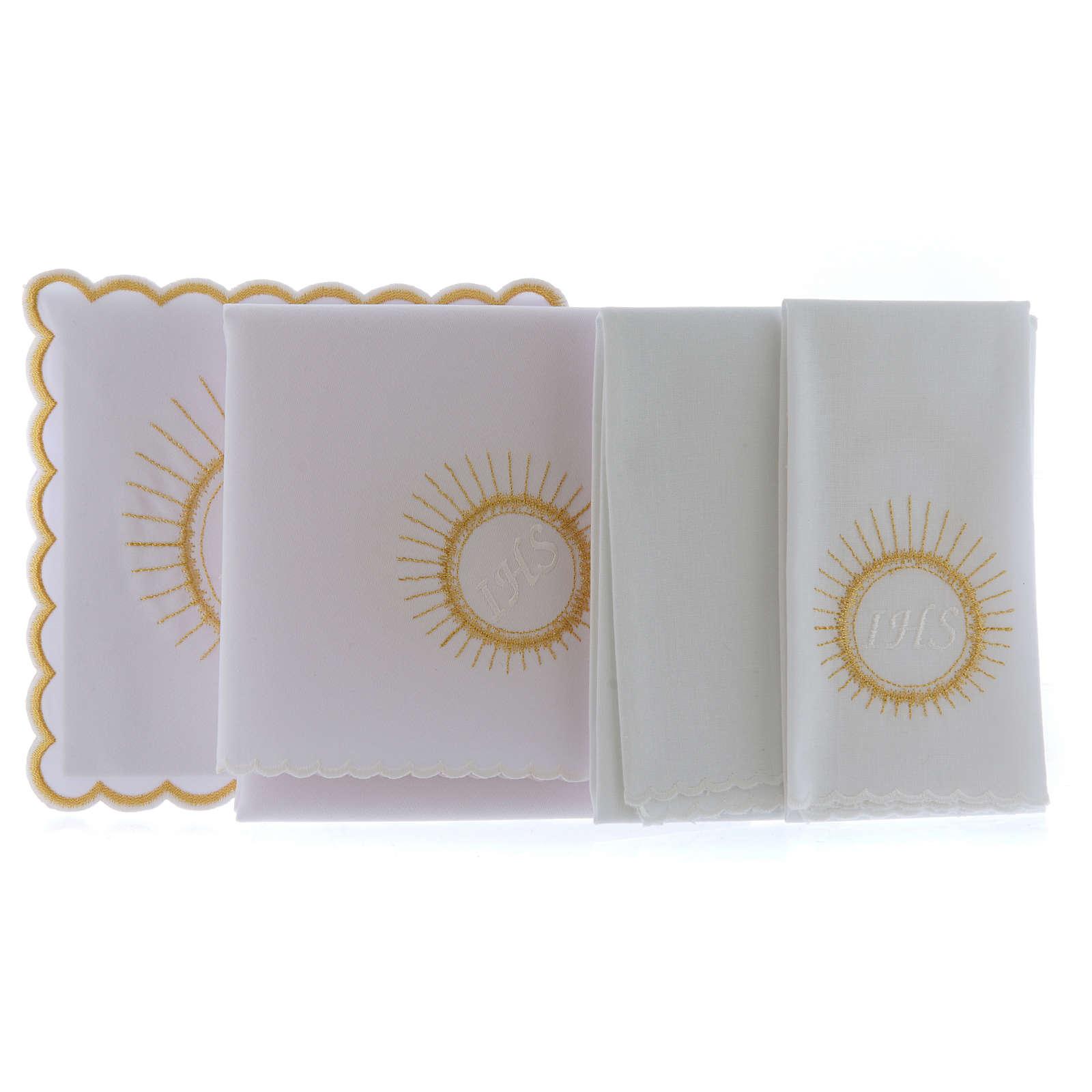 Set linge autel coton hostie broderie blanc IHS 4