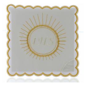 Set linge autel coton hostie broderie blanc IHS s1
