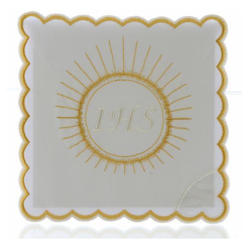 Set linge autel coton hostie broderie blanc IHS 1