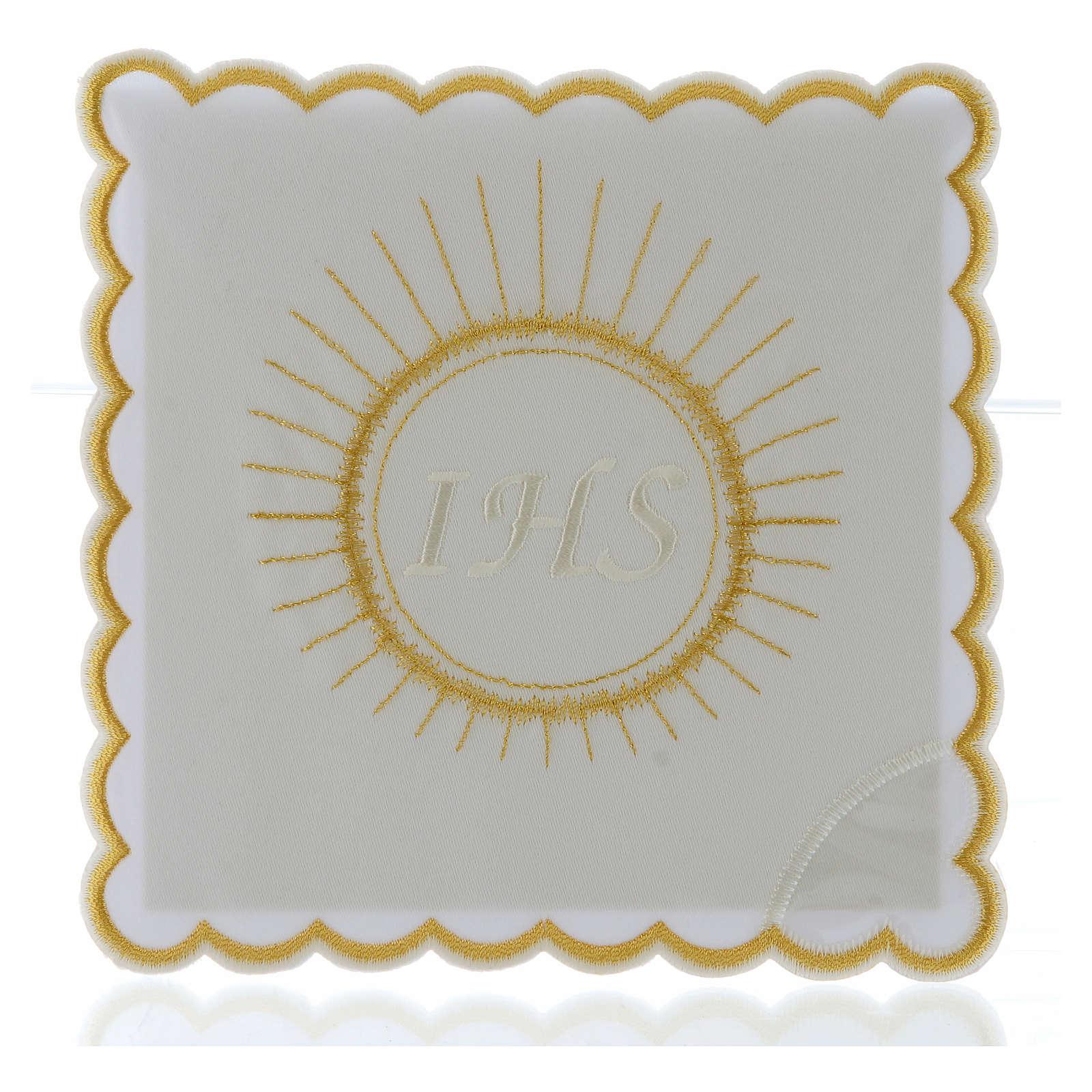 Servizio da altare cotone ostia ricamo bianco IHS 4