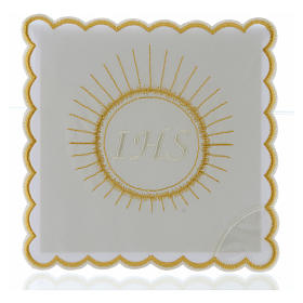 Servizio da altare cotone ostia ricamo bianco IHS s1
