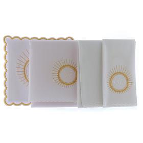 Servizio da altare cotone ostia ricamo bianco IHS s2