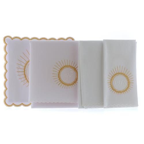 Servizio da altare cotone ostia ricamo bianco IHS 2