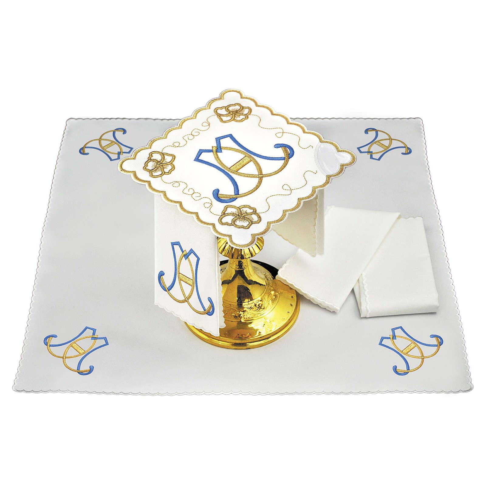 Set linge autel coton initiales bleu clair or Sainte Vierge 4