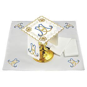Linges d'autel: Set linge autel coton initiales bleu clair or Sainte Vierge