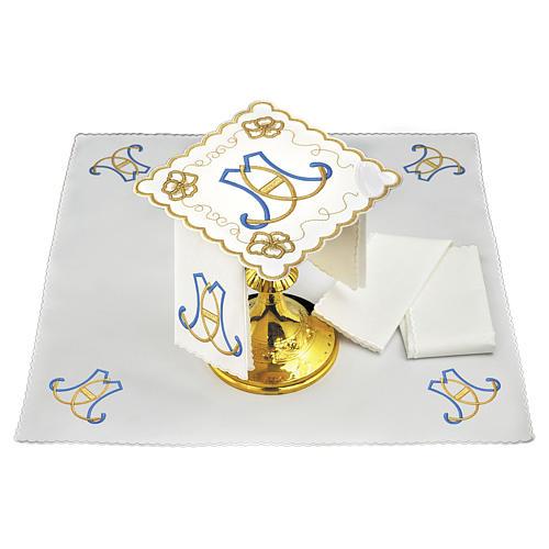 Set linge autel coton initiales bleu clair or Sainte Vierge 1