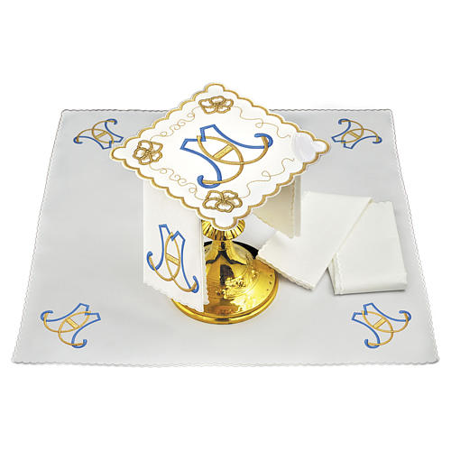 Servizio da altare cotone iniziali azzurro oro Santissimo Nome di Maria 1