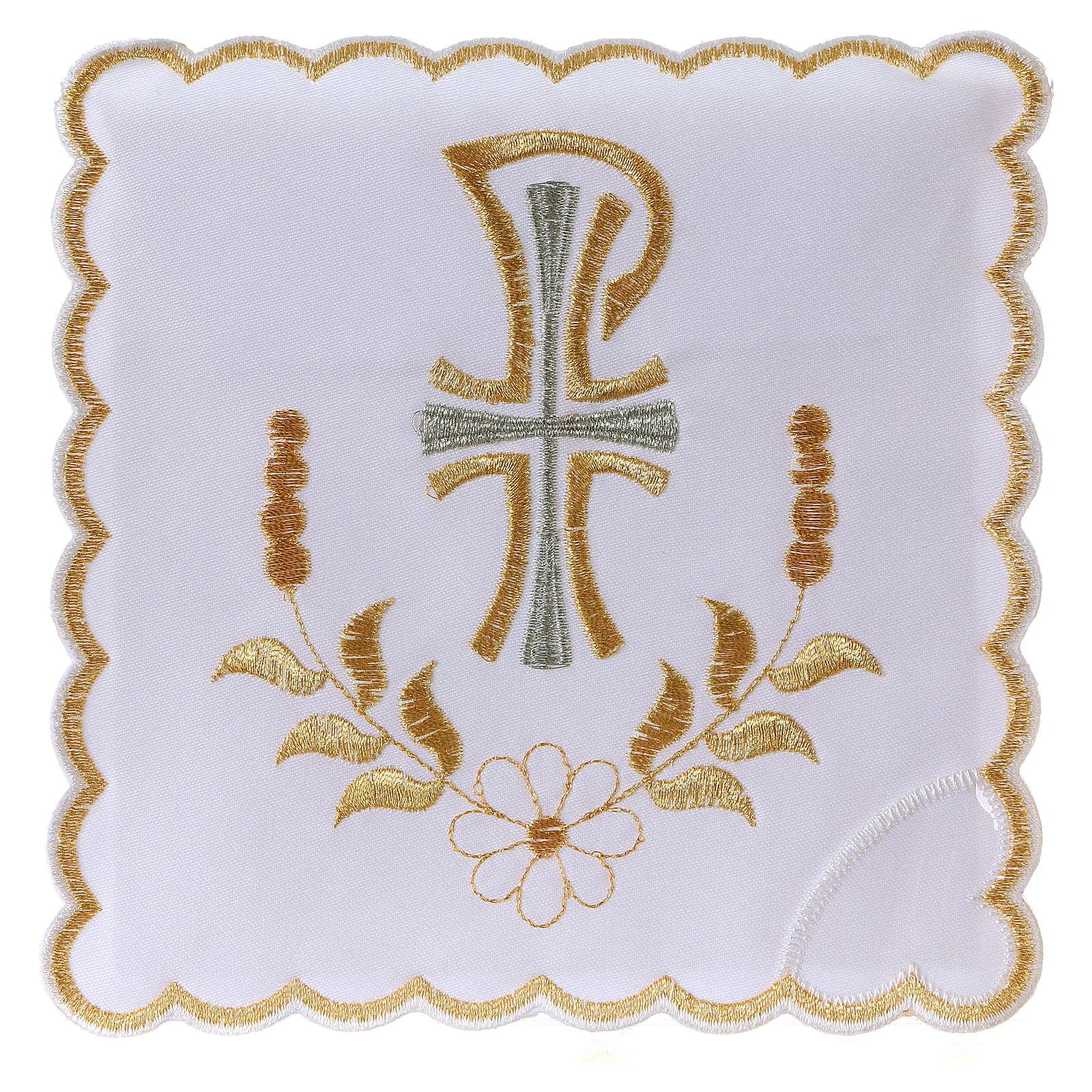 Servizio da altare cotone fiore margherita lettera P con croce 4