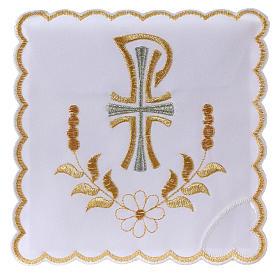 Servizio da altare cotone fiore margherita lettera P con croce s1