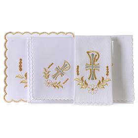 Servizio da altare cotone fiore margherita lettera P con croce s3