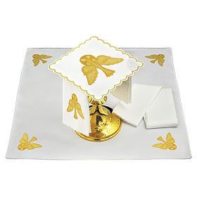 Altar cloth set golden dove, cotton s1