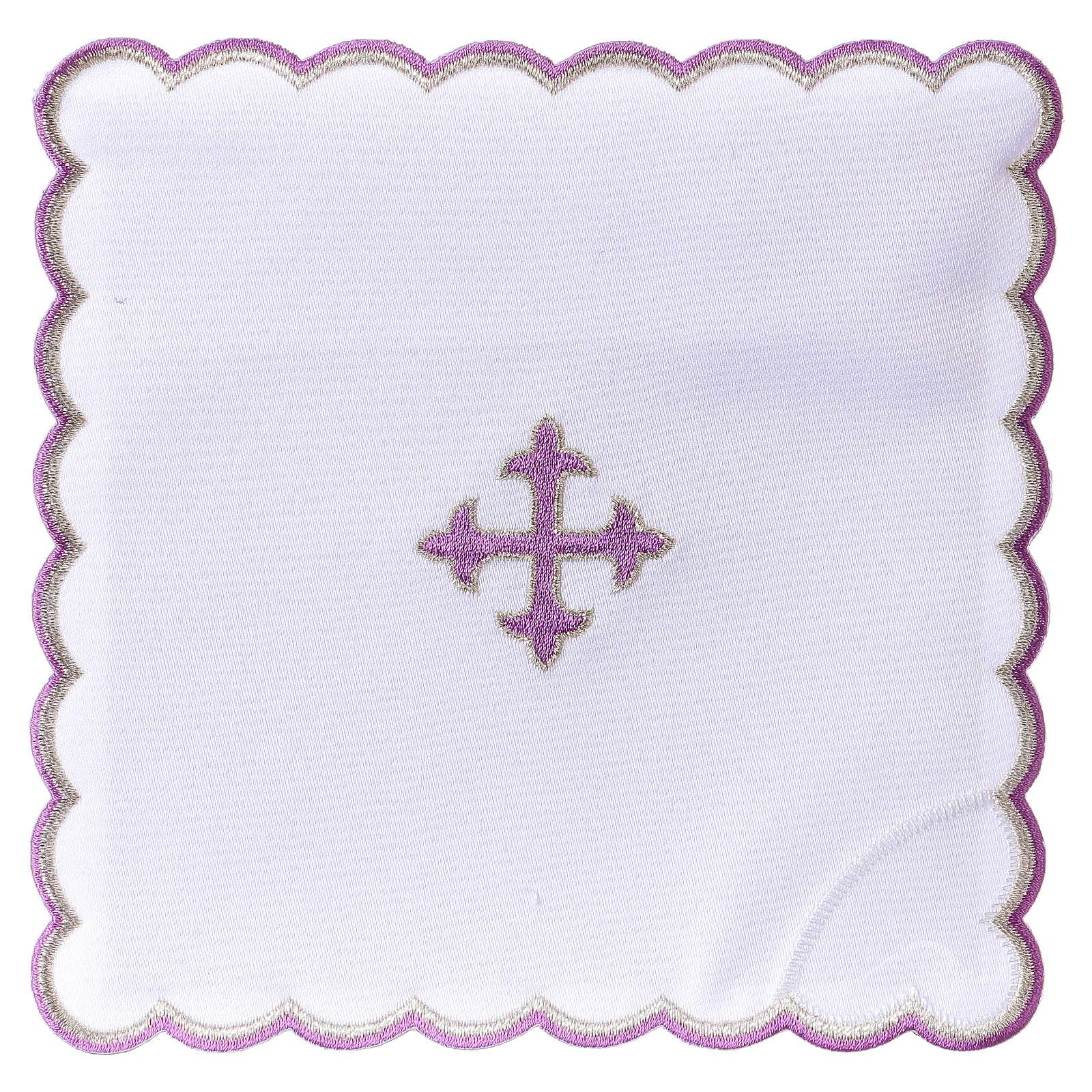Altar linen baroque cross purple embroidery, cotton 4