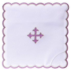Altar linens: Altar linen baroque cross purple embroidery, cotton