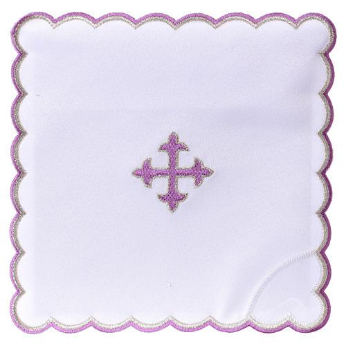Altar linen baroque cross purple embroidery, cotton 1