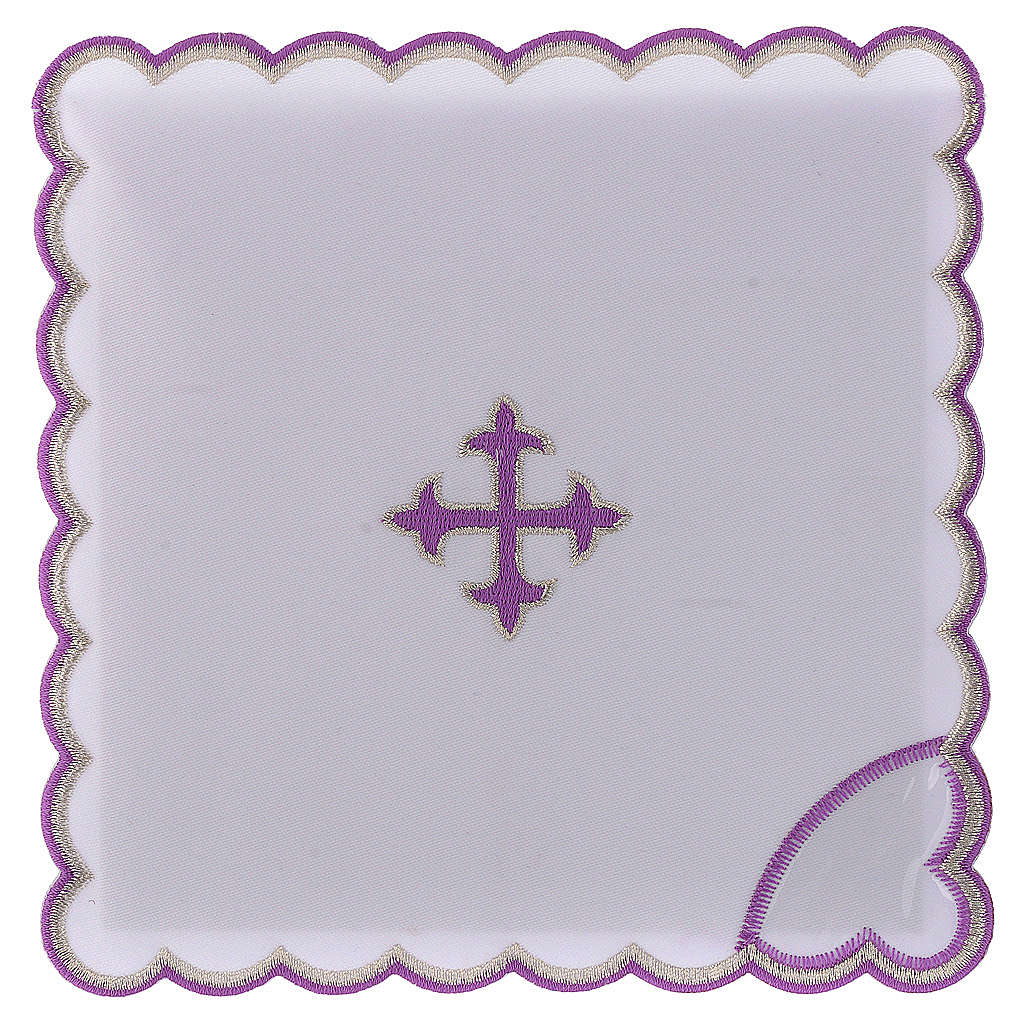 Servizio da altare cotone croce barocca ricamo viola 4
