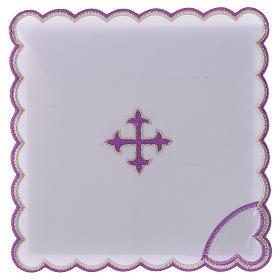 Servizio da altare cotone croce barocca ricamo viola s1