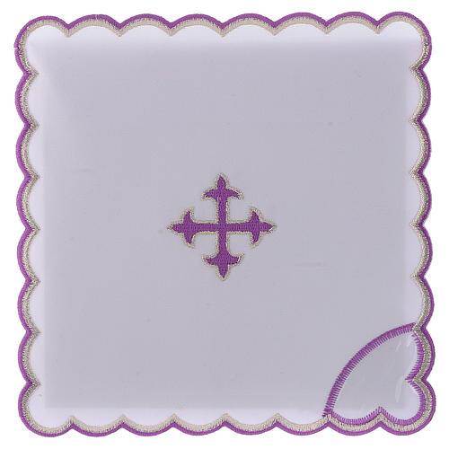Servizio da altare cotone croce barocca ricamo viola 1
