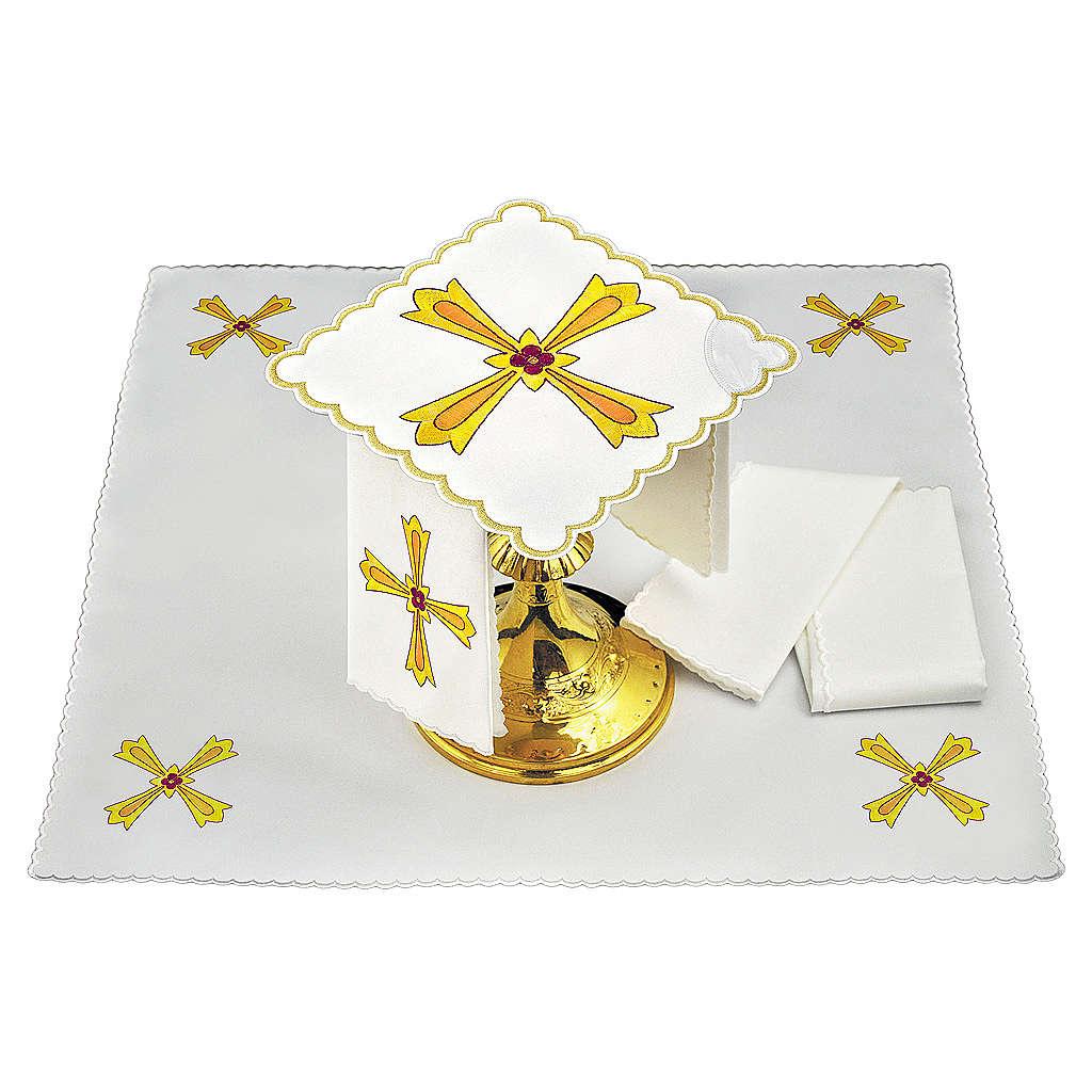 Set linge autel coton croix jaune orange fleur rouge 4
