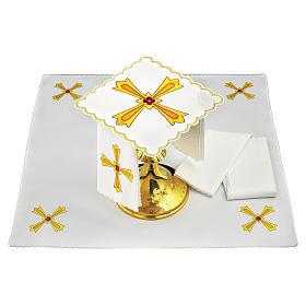 Set linge autel coton croix jaune orange fleur rouge s2
