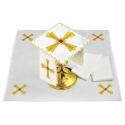 Set linge autel coton croix jaune orange fleur rouge 1
