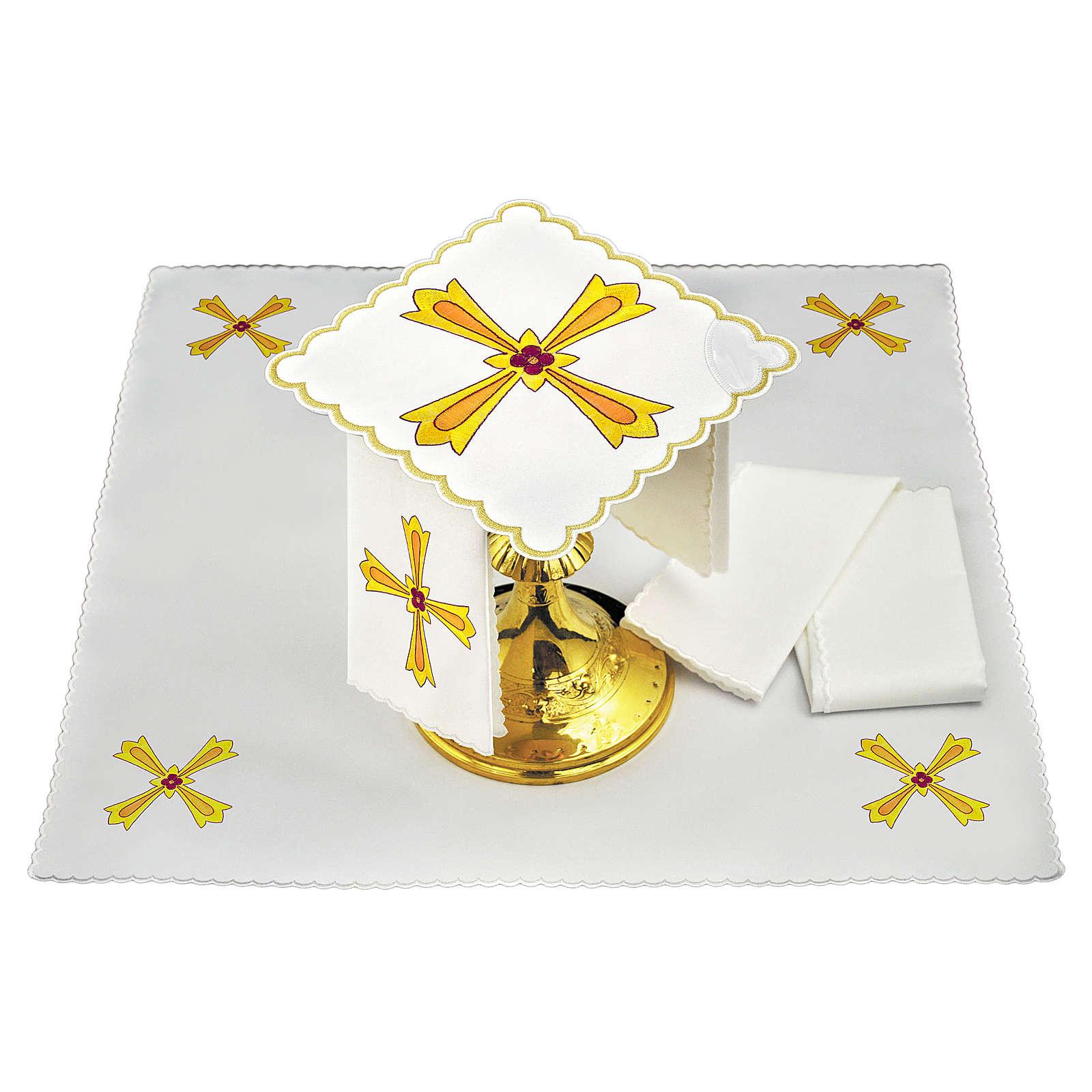 Conjunto de alfaia para altar algodão cruz amarela laranja flor vermelha 4