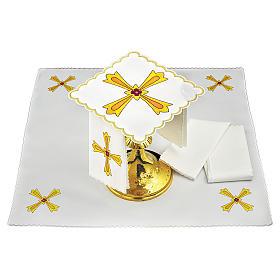 Conjunto de alfaia para altar algodão cruz amarela laranja flor vermelha s1