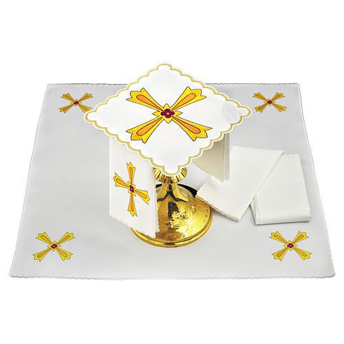 Conjunto de alfaia para altar algodão cruz amarela laranja flor vermelha 2