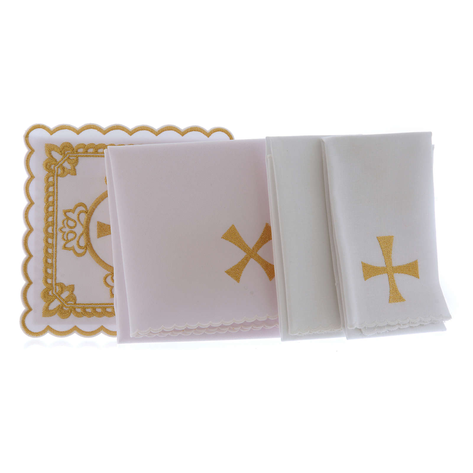 Servicio de altar algodón cruz motivos bordados dorados 4