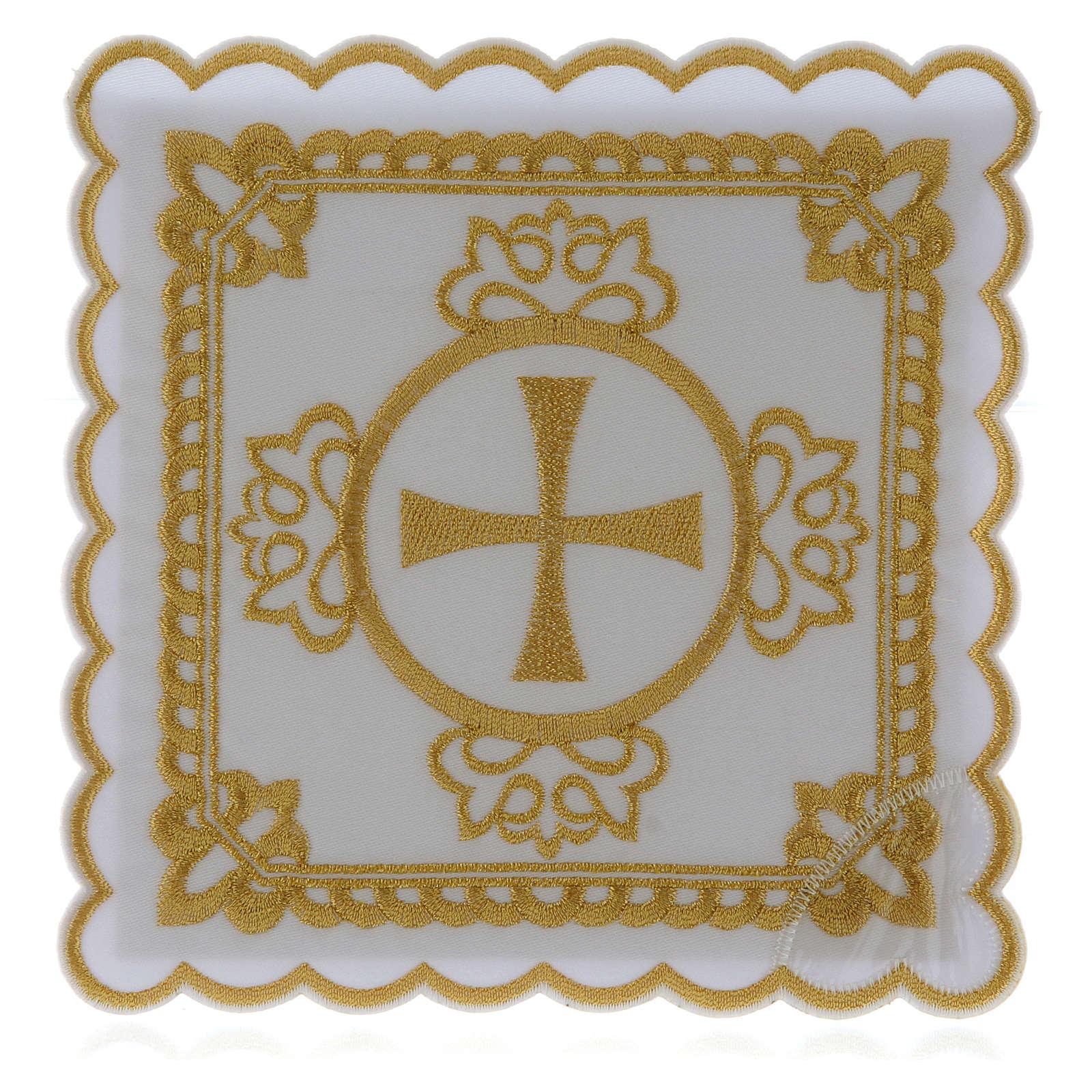 Set linge autel coton croix décors brodés dorés 4