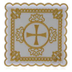 Set linge autel coton croix décors brodés dorés s1
