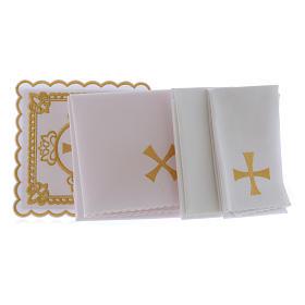 Set linge autel coton croix décors brodés dorés s2