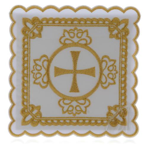 Set linge autel coton croix décors brodés dorés 1