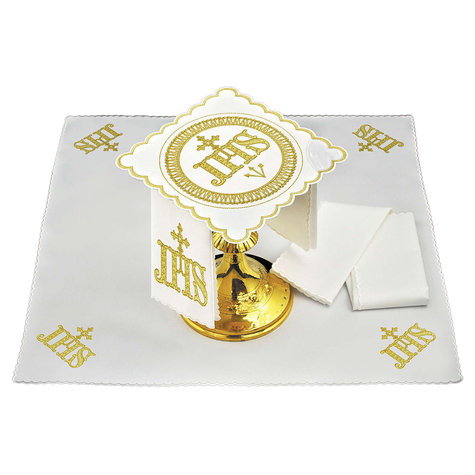 Set linge autel coton symbole IHS position centrale et broderie dorée 4