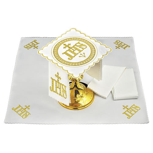 Set linge autel coton symbole IHS position centrale et broderie dorée 1