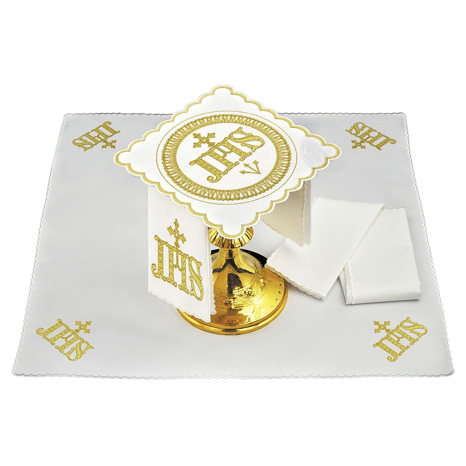 Servizio da altare cotone simbolo JHS posizione centrale e ricami dorati 4