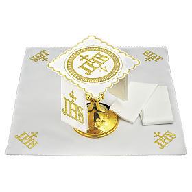 Servizio da altare cotone simbolo JHS posizione centrale e ricami dorati s1
