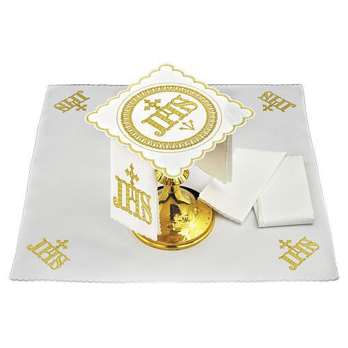Servizio da altare cotone simbolo JHS posizione centrale e ricami dorati 1