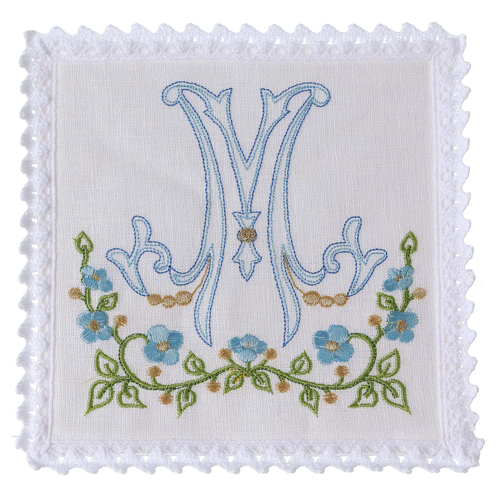Altar linen blue embroidery Marian symbol, cotton 4