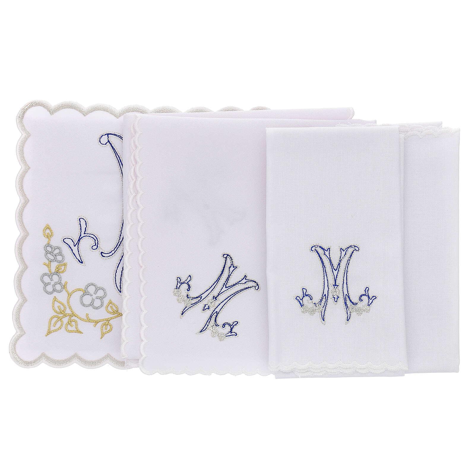 Altar linen blue embroidery Marian symbol, cotton 4