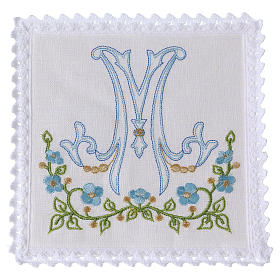Altar linens: Altar linen blue embroidery Marian symbol, cotton