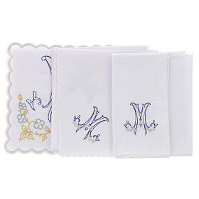 Altar linen blue embroidery Marian symbol, cotton s3